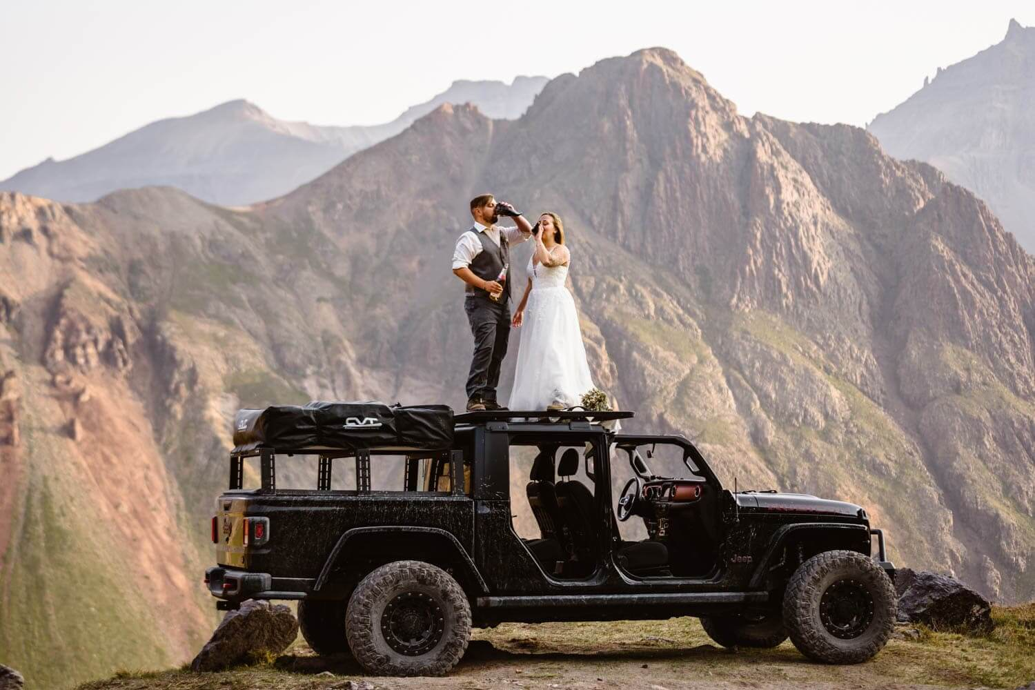 Bride and Groom on Jeep Telluride Elopement Packages