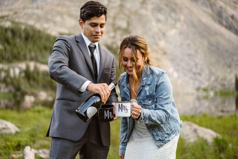 Bride and Groom Champagne Boulder Colorado Elopement