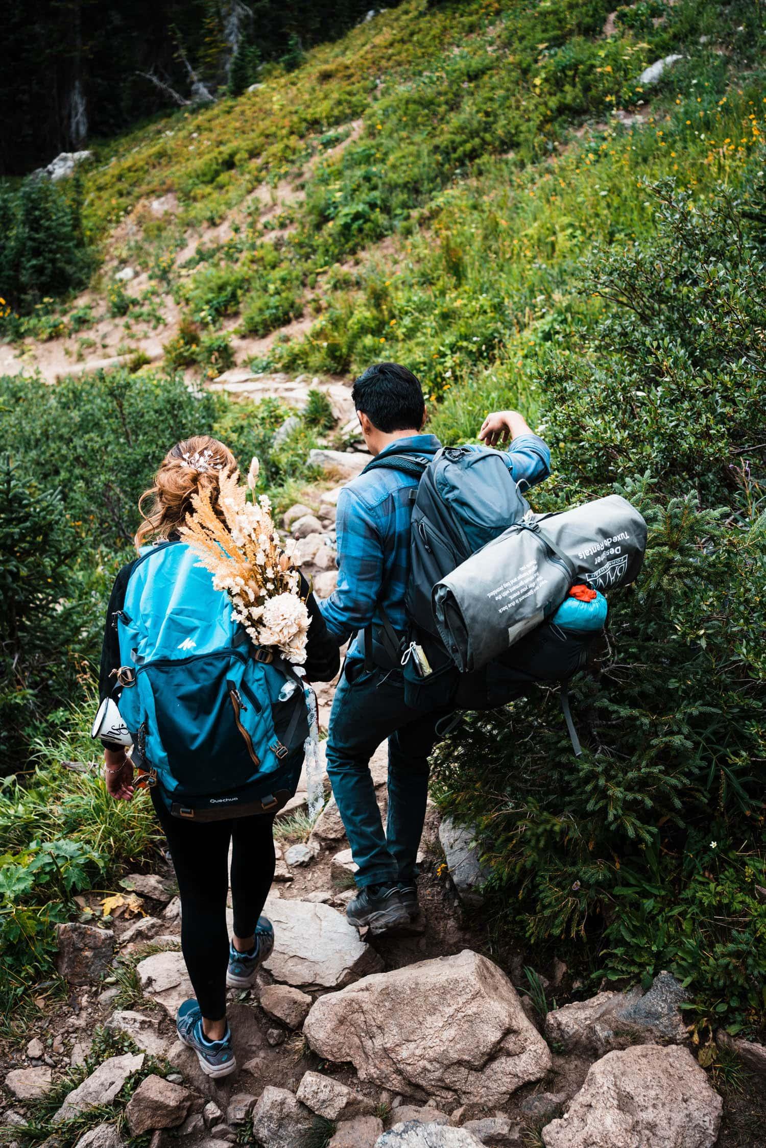 Couple Hiking Boulder Colorado Elopement