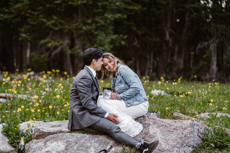 Bride and Groom Laughing Boulder Colorado Elopement