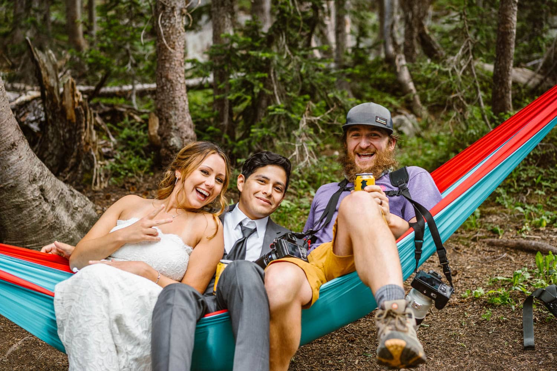 Bride and Groom in Hammock Boulder Colorado Elopement