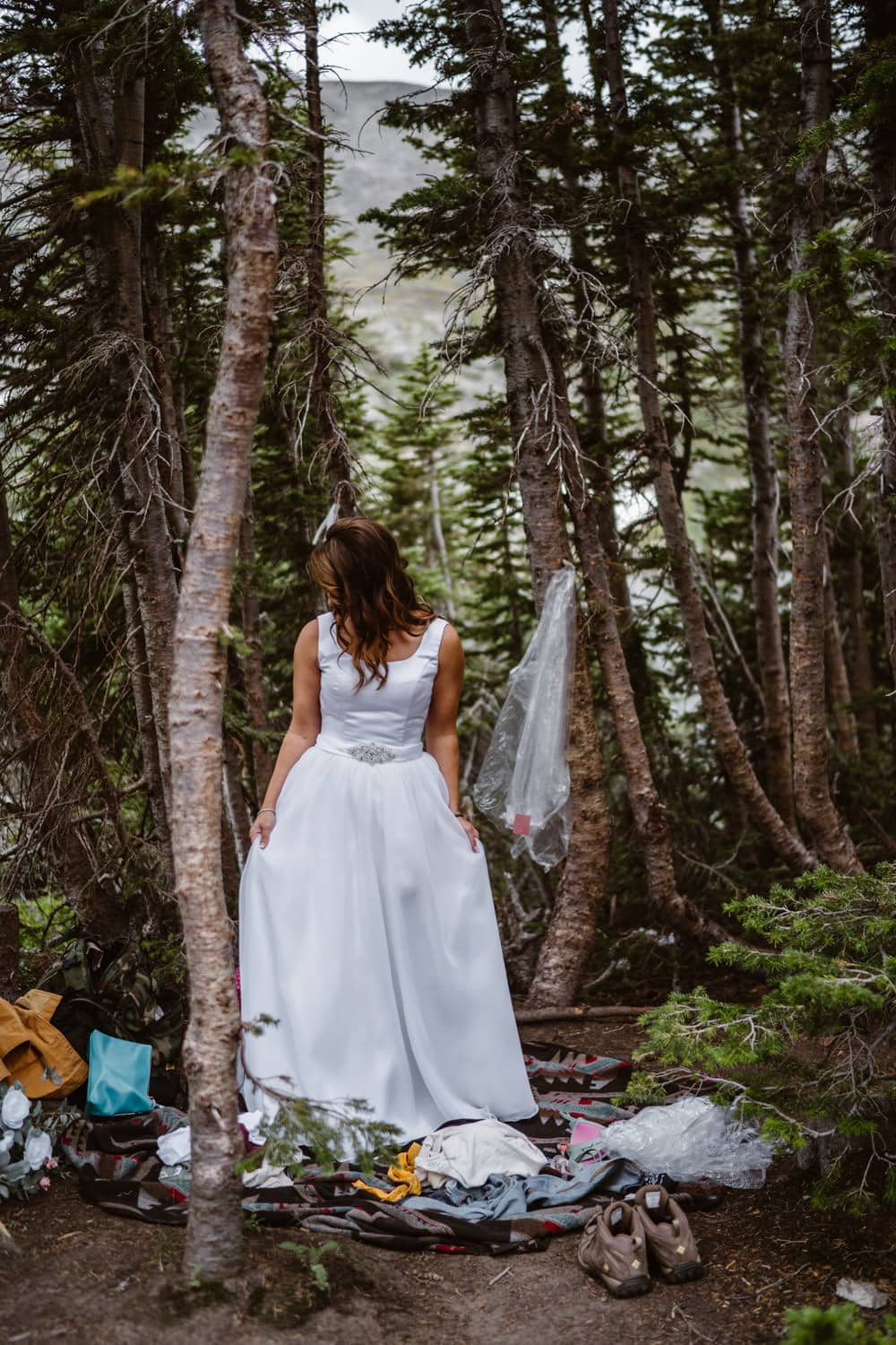 Bride in Wedding Dress Colorado Mountain Elopement Packages