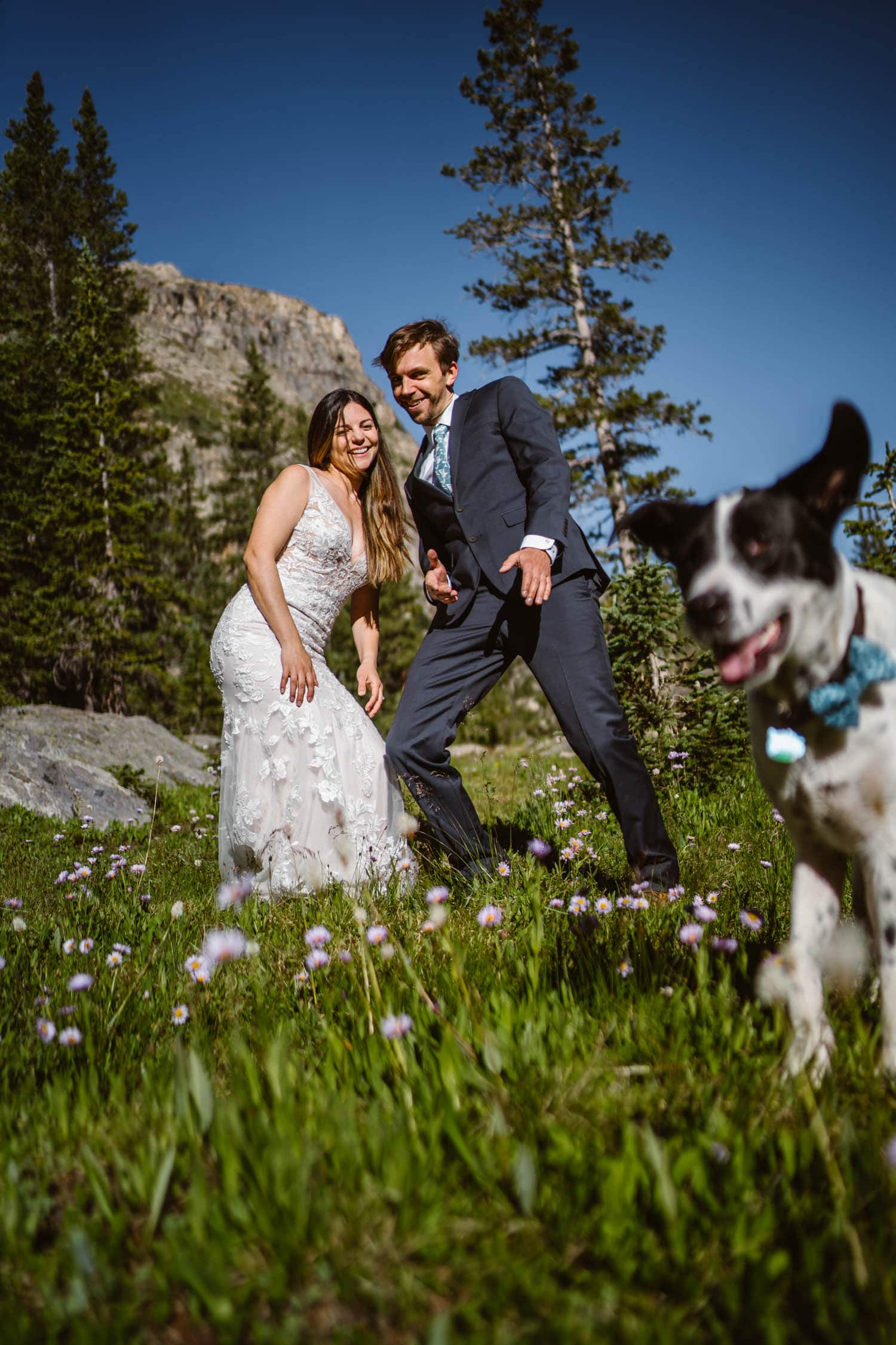 Bride and Groom With Dog Grand Lake Colorado Elopement
