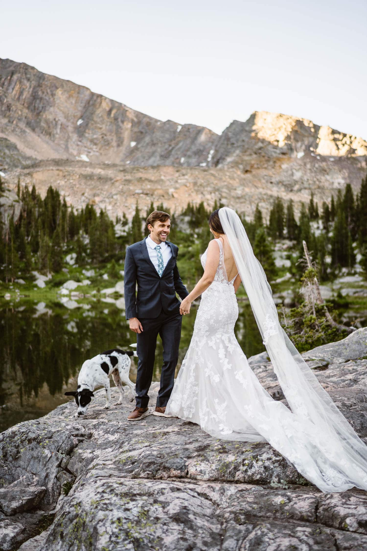 Bride and Groom First Look Grand Lake Colorado Elopement