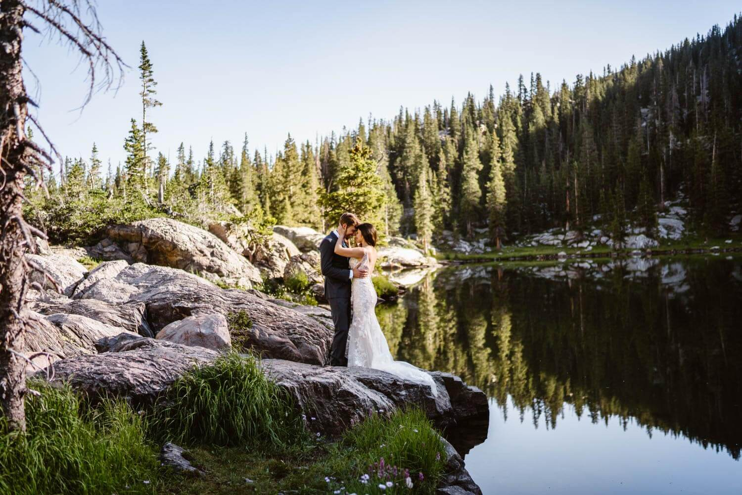 Bride and Groom Near Lake Grand Lake Colorado Elopement