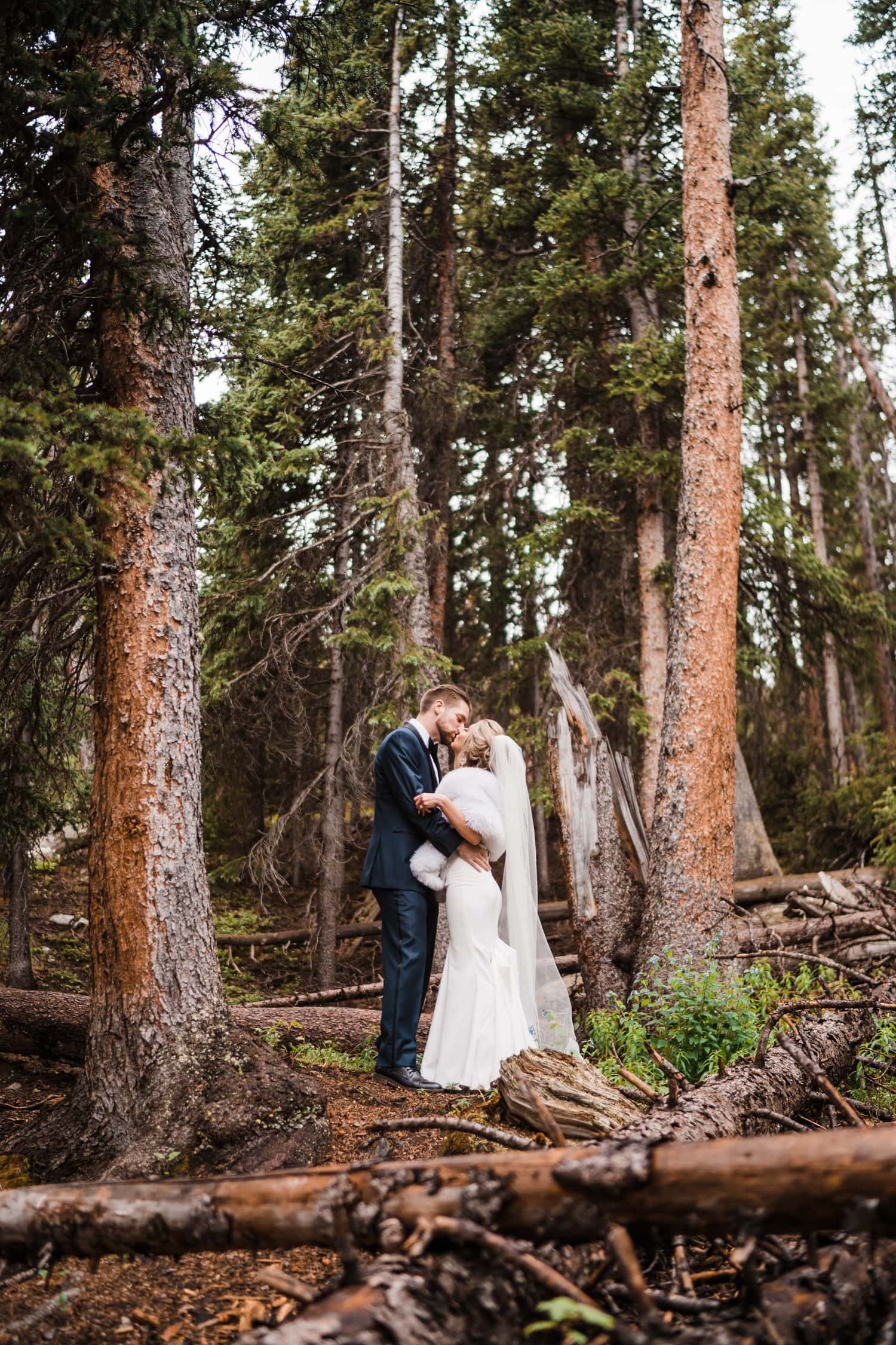Bride and Groom Kissing at Georgetown, CO Elopement