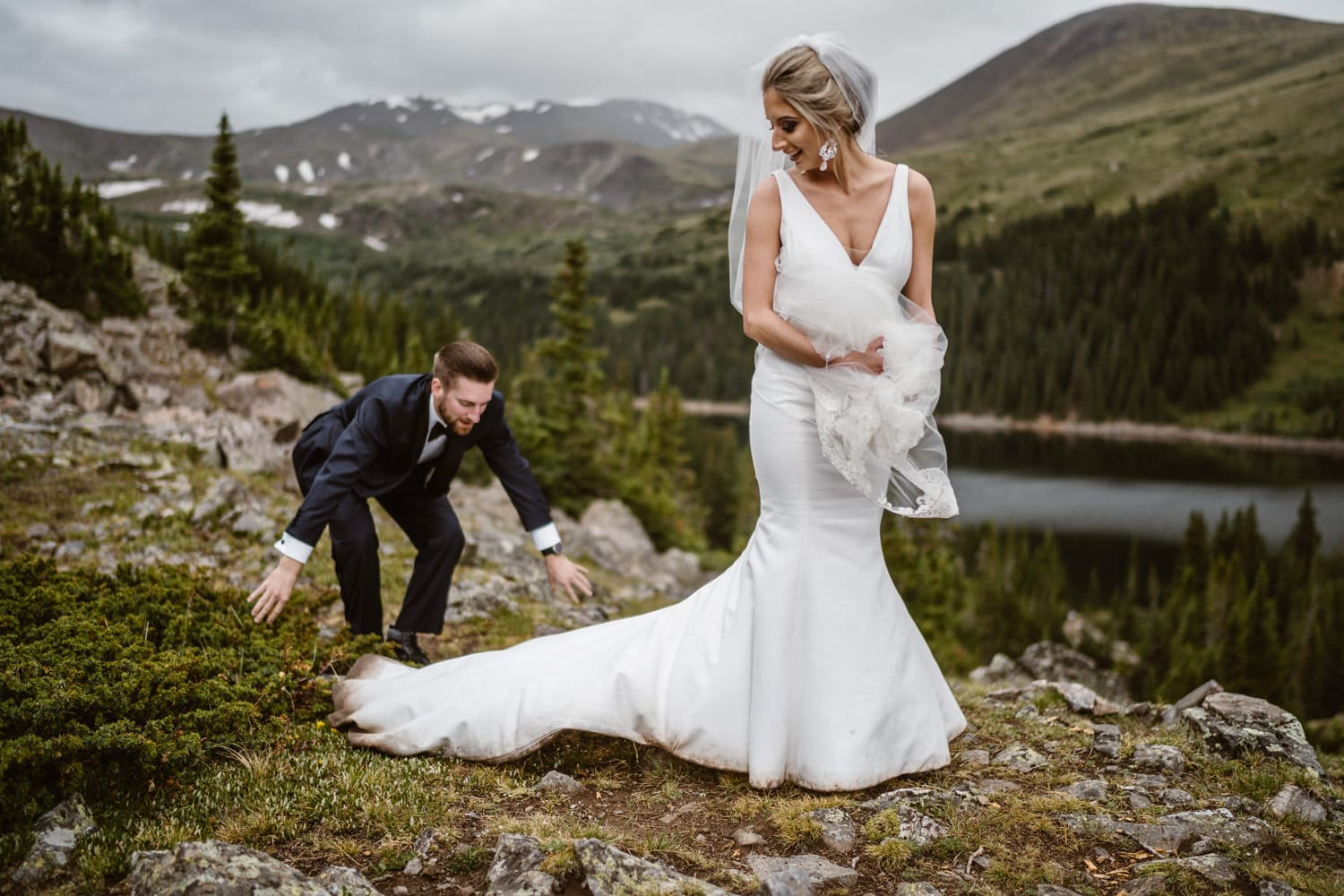 Bride and Groom Vow Ceremony at Georgetown, CO Elopement