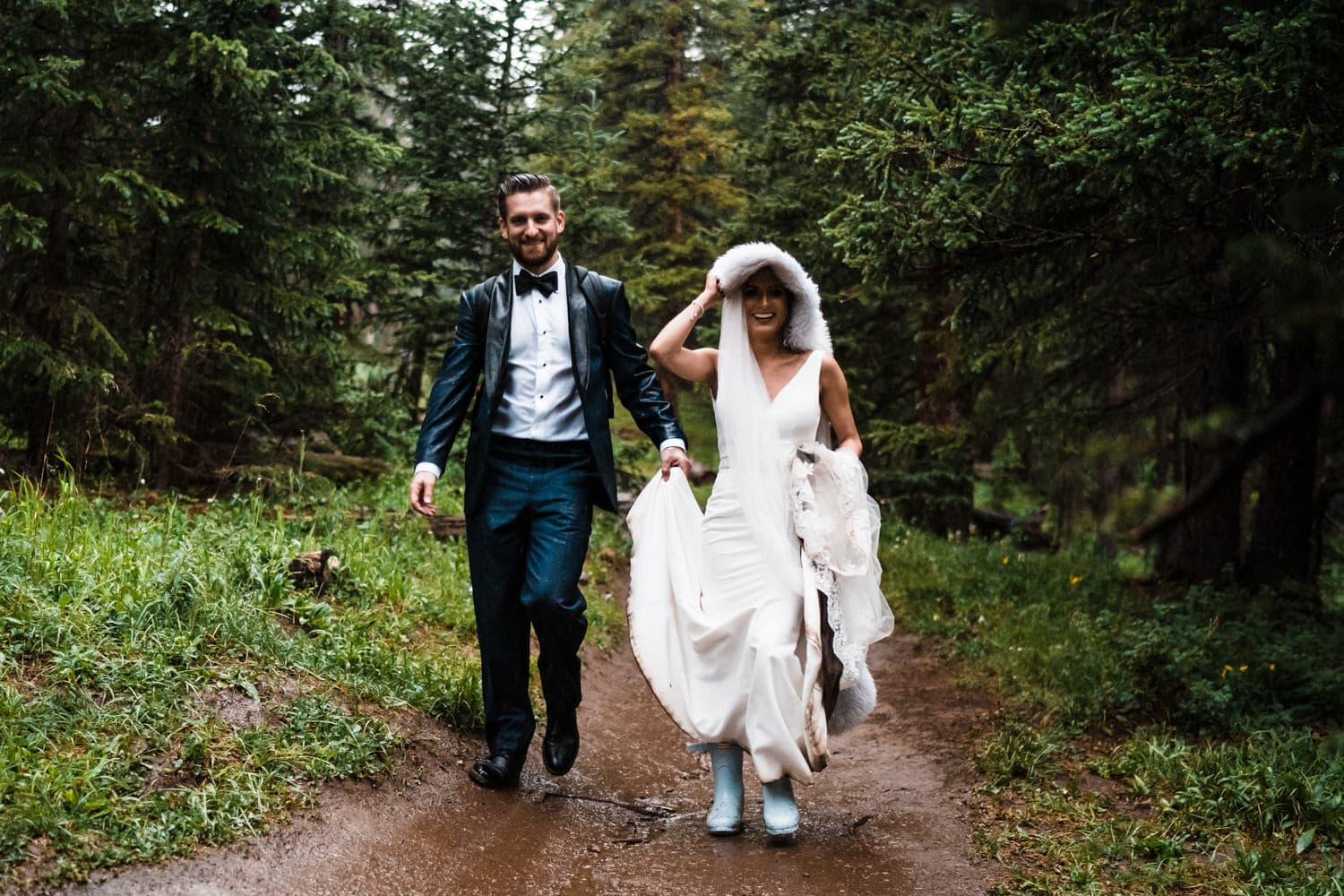 Bride and Groom Hiking at Georgetown, CO Elopement