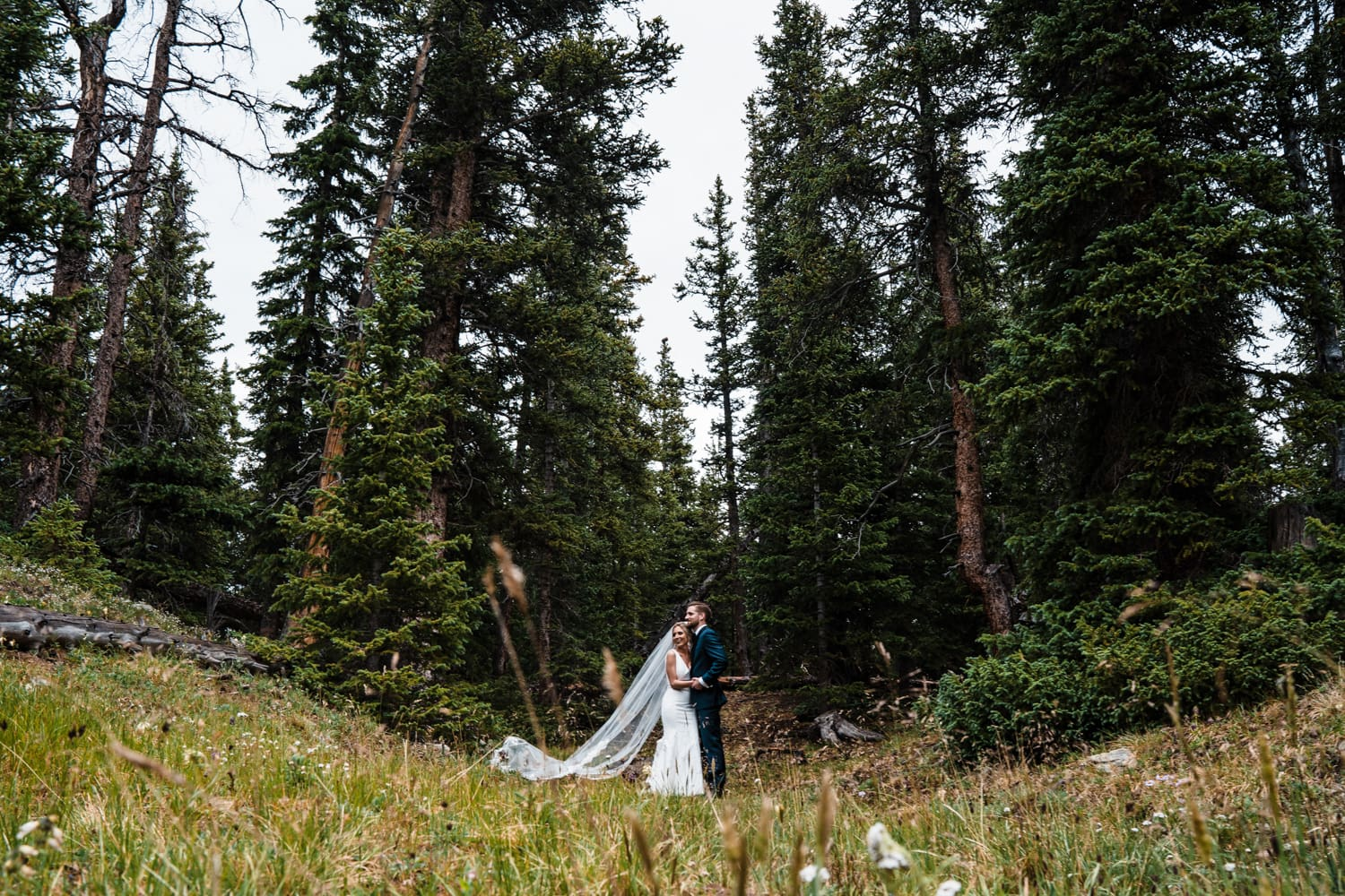 Bride and Groom Hugging at Georgetown, CO Elopement