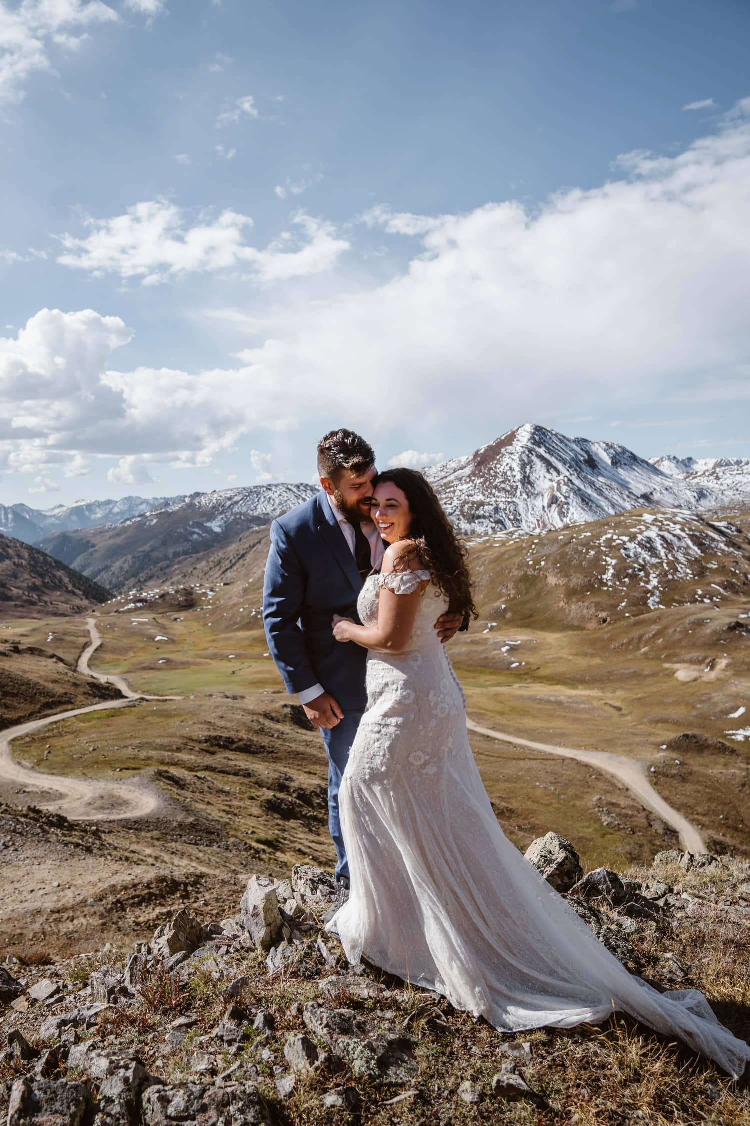 Bride and Groom Laughing at Silverton, CO Elopement