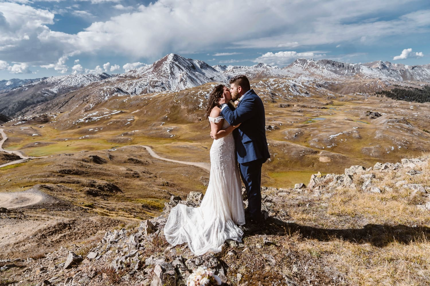 Bride and Groom Kissing in Mountains at Silverton, CO Elopement