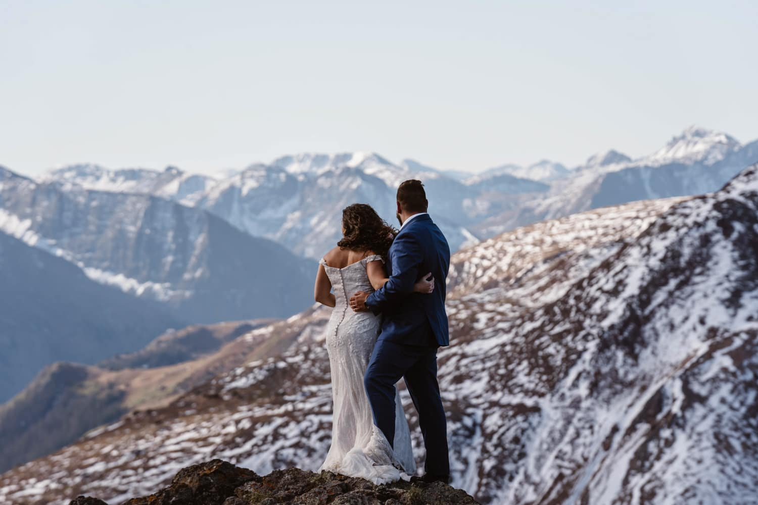 Bride and Groom with Snow Capped Peaks at Silverton, CO Elopement
