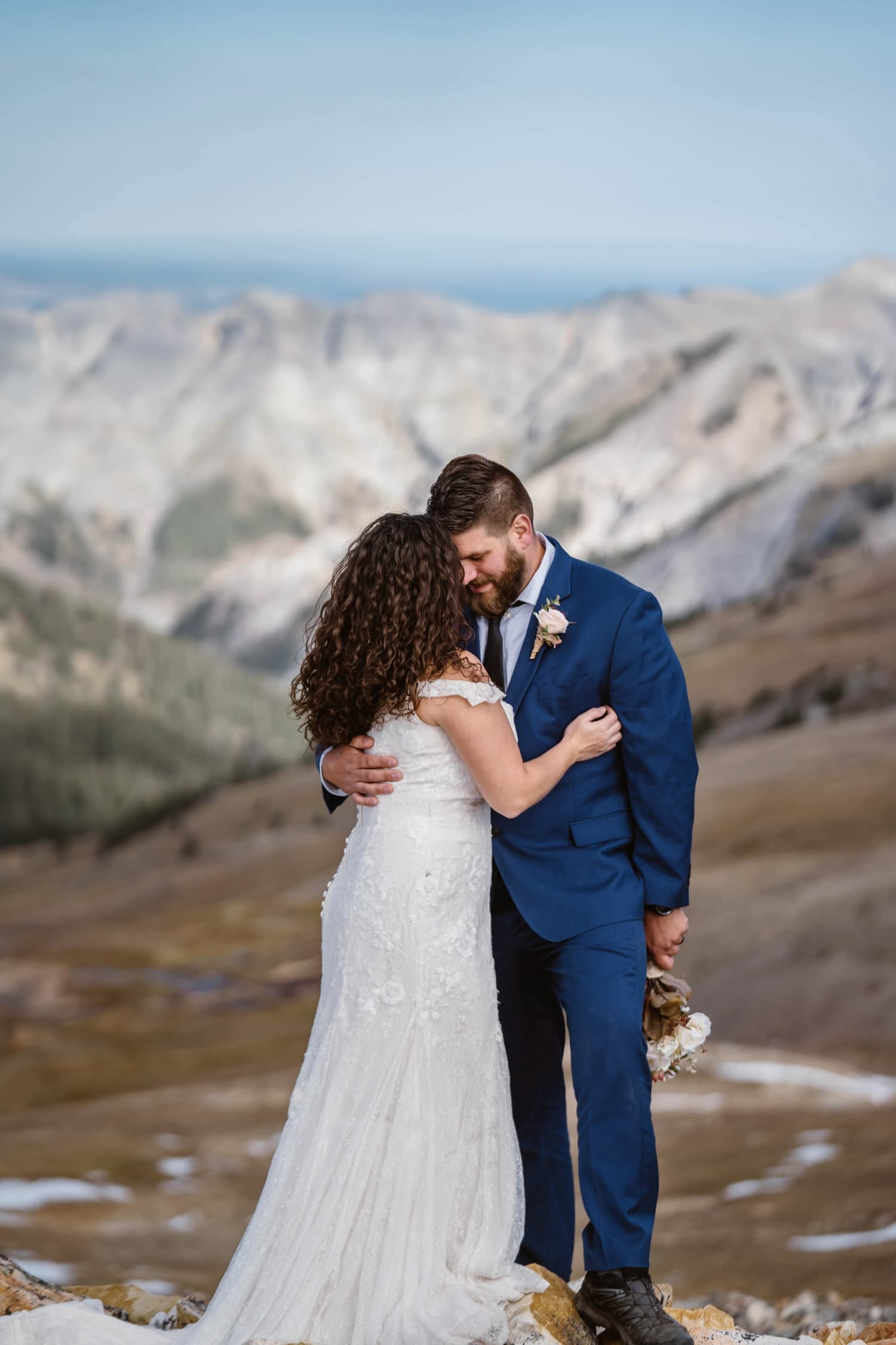 Bride and Groom Hugging at Silverton, CO Elopement