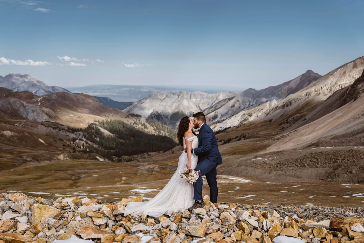 Bride and Groom Kissing at Silverton, CO Elopement