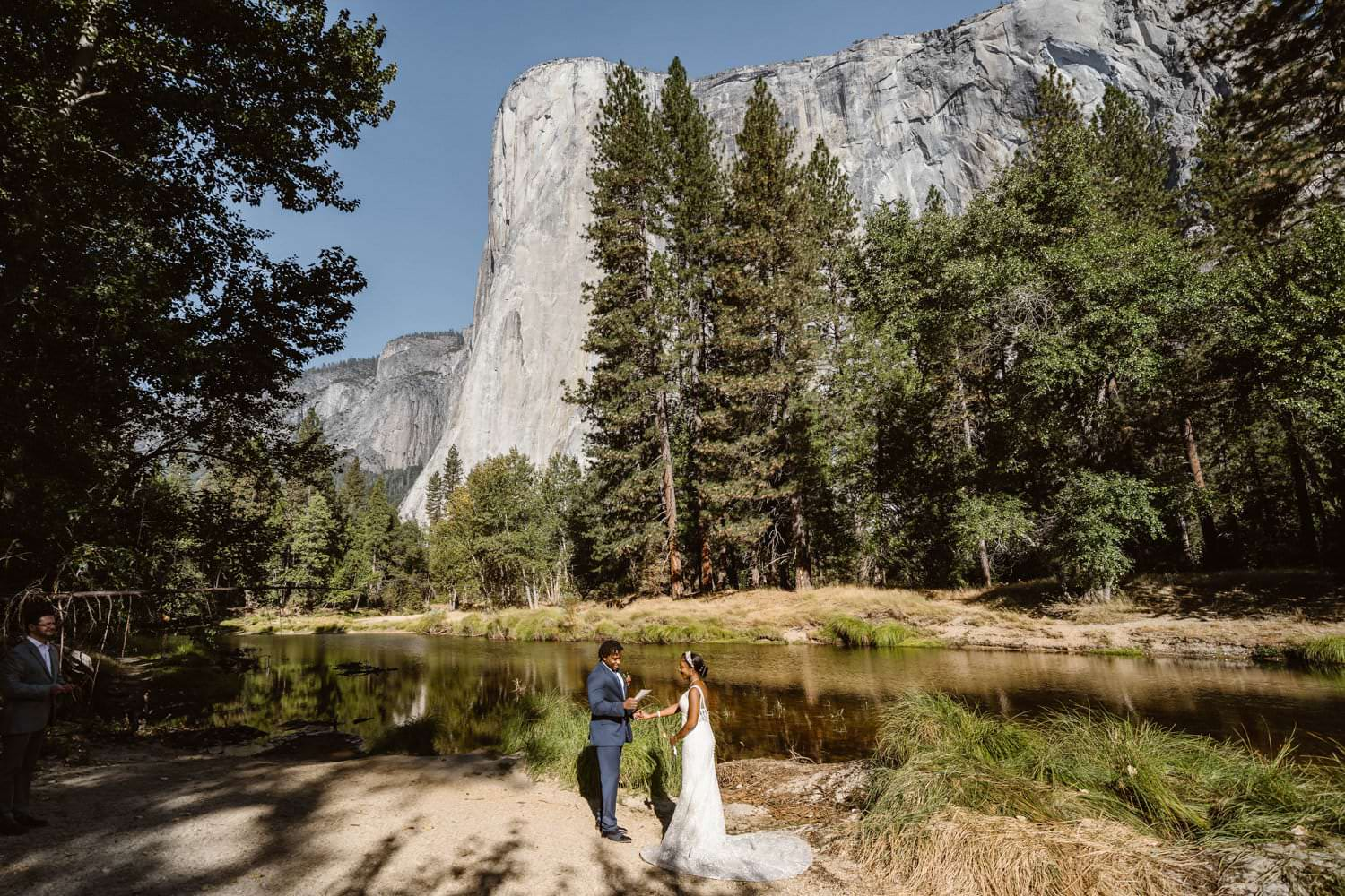 Bride and Groom Vow Ceremony Cathedral Beach Yosemite Elopement Guide and Packages