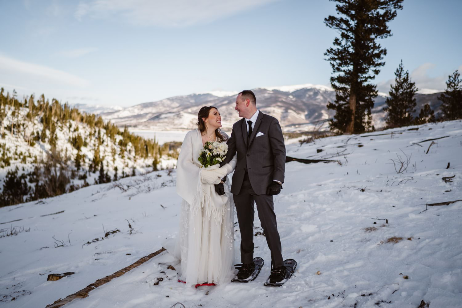 Bride and Groom Snowshoeing Breckenridge Elopement Guide and Spots