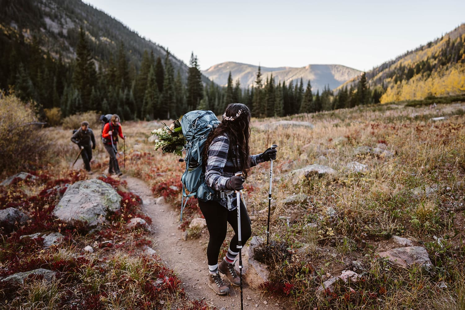 Bride Hiking in Fall Hiking Adventure Elopement