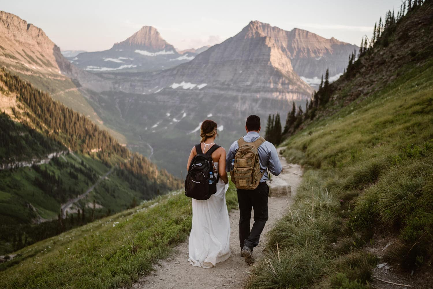Bride and Groom at Sunride Hiking Adventure Elopement