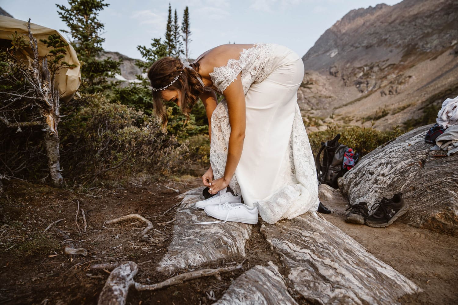 Bride Getting Ready Hiking Adventure Elopement