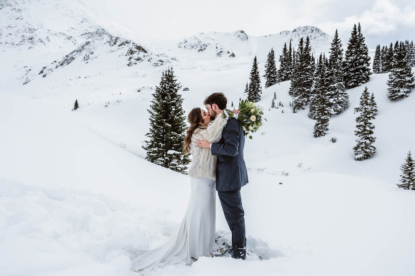 Bride and Groom Kissing Winter Elopement Guide