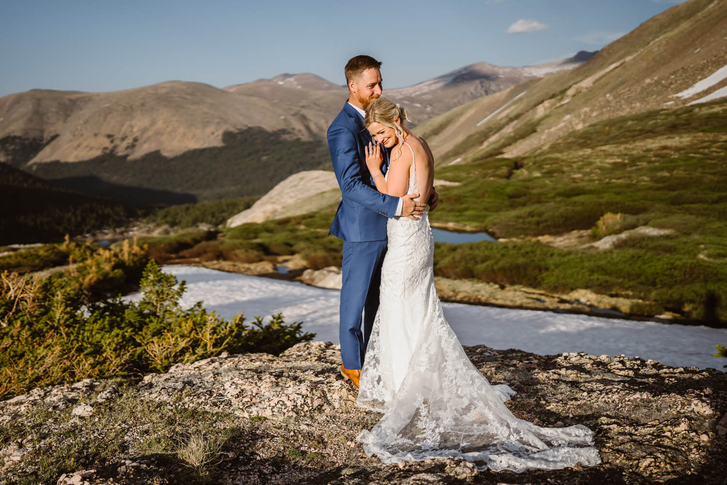 Bride and Groom Hugging at Sunset Best Places to Elope in Colorado