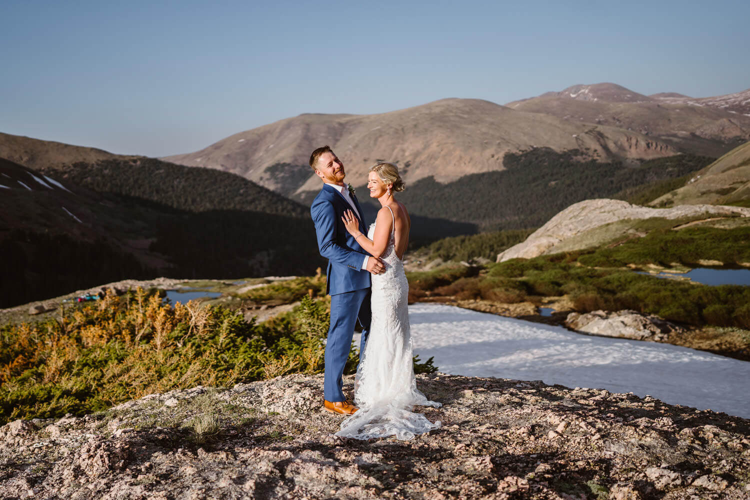 Bride and Groom Laughing Breckenridge Elopement Guide and Spots